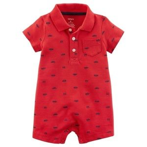 Carter's Boy Red One Piece With Cars